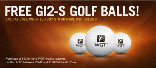 Free sleeve of GI2-S virtual golf balls when you purchase $10 or more WGT credits!
